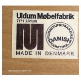 "Set of 4 Mid Century Modern Danish Walnut Kitchen Chairs by ""Uldum Mobelfabrik Made in Denmark"""