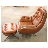 Mid Century 2 Piece Button Tufted Leather Style Lounge Chair and Ottoman