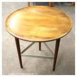 "Mid Century Modern Danish Walnut Round Lamp Table by ""Fine Furniture Exclusively Yours Big Rapids Fu"