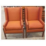 PAIR of QUALITY High Back Fireside Modern Line Chairs