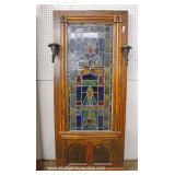 ANTIQUE Leaded Glass Decorated Panel with Sconces