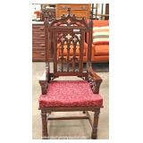 ANTIQUE Walnut Gothic Style High Back Chair