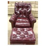 "3 Piece HIGH END Leather Chesterfield Style Button Tufted Sofa, Chair and Ottoman  by ""Hancock and"