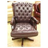 Leather Button Tufted Swivel Executive Desk Chair