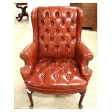 Leather Like Button Tufted Wing Back Fireside Chair