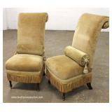 PAIR of Upholstered Decorator Fringed Side Chairs – auction estimate $100-$200