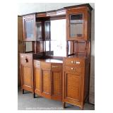 ANTIQUE 5 Part French Style Mahogany Inlaid and Banded Buffet with Mirrored Curio Top – auction est