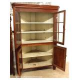 ANTIQUE 4 Door 12 Pane Mahogany Country Corner Cabinet – auction estimate $300-$600