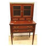 ANTIQUE SOLID Mahogany French Flip Top Desk with Bookcase Top – auction estimate $200-$400