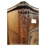 6 Piece Burl Mahogany VINTAGE Bedroom Set with Carved Swan Heads on Low Chest and Full Size Bed – au