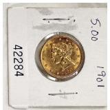 U.S. 1901 Gold $5.00 Coin – auction estimate $300-$600