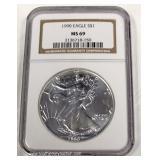 1990 U.S. Silver Eagle $1.00 MS69 – auction estimate $30-$60