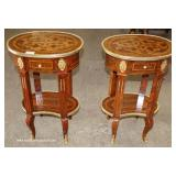 PAIR of Mahogany Inlaid and Banded French Style One Drawer 2 Tier Stands with Applied Bronze – auct