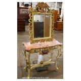 Italian Carved Paint Decorated Marble Top Console and Mirror – auction estimate $100-$300