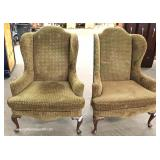PAIR of Queen Anne Upholstered Wing Back Chairs – auction estimate $200-$400
