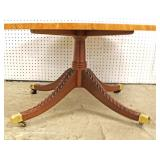 """Mahogany Banded and Inlaid Oval Coffee Table by """"Kindel Furniture"""" – auction estimate $100-$300"""