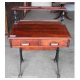 ANTIQUE School Desk with Wrought Iron Base – auction estimate $100-$300