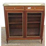 ANTIQUE Mahogany Inlaid French 2 Drawer 2 Door Marble Top Server – auction estimate $200-$400