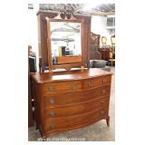 Mahogany Bow Front High Chest and Low Chest with Mirror – auction estimate $300-$600