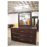 Contemporary 2 Piece Mahogany Finish Leather Upholstered King Size Bed and Dresser with Mirror – au