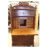ANTIQUE Burl Mahogany Carved Fall Front Desk – auction estimate $300-$600
