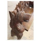 Highly Carved Wood Bear Bench – auction estimate $200-$400
