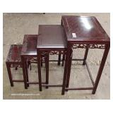 Mahogany Asian Inspired Nest of Tables – auction estimate $100-$200