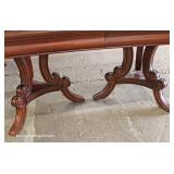 9 Piece Contemporary Mahogany Finish Inlaid Dining Room Table with 8 Queen Anne Chairs – auction es