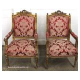 5 Piece French Style Carved Upholstered Parlor Set including Settee and 4 Arm Chairs – auction Esti