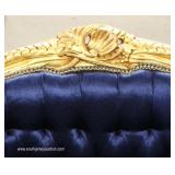 French Style Blue Upholstered Button Tufted Carved Oversized Chair – auction estimate $200-$400