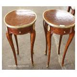 PAIR of French Style Mahogany Inlaid and Banded One Drawer Side Tables with Applied Bronze – auctio