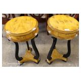 PAIR of Burl Walnut and Black French Style One Drawer Side Tables – auction estimate $100-$300