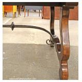 Contemporary Mahogany Large Dining Room Table with Metal Stretcher Decorator Base  and 10 Upholster