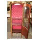 Mahogany French Inlaid and Banded Button Tufted Crystal Cabinet – auction estimate $200-$400