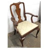 """SOLID Mahogany Queen Anne Arm Chair by """"Henkel Harris Furniture"""" – auction estimate $50-$100"""