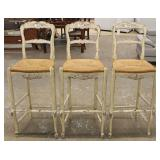 Set of 3 Country French Style Distressed Carved Rush Bottom Bar Stools – auction estimate $100-$300