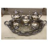 NICE VINTAGE 6 Piece Silver Plate Tea Set – auction estimate $100-$300