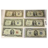 U.S. Silver Certificates including $5 Silver Certificate,  (2) 1935 & 1937 $1.00 Silver Certificates