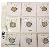 Group of 9 Silver Mercury Dimes – auction estimate $5-$10
