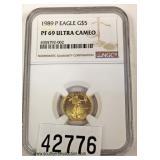 1989-P $5.00 Eagle Gold Coin PF-69 – auction estimate $100-$300