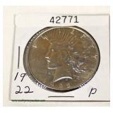U.S. 1922 Silver Peace Dollar – auction estimate $20-$50