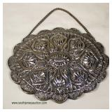 """Fancy Silver Marked Ceylan Ladies Ornate Hanging Mirror  (approximately 6 1/2"""" W x 5"""" H x ½"""" D)  au"""