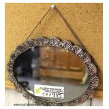 """Marked 800 Silver Fancy Ladies Ornate Hanging Mirror  (approximately 8 1/4"""" W x 6 1/2"""" H x ½"""" D"""")"""