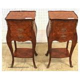 PAIR of ANTIQUE French 2 Drawer Mahogany Night Stands with Applied Bronze – auction estimate $200-$