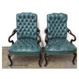 PAIR of Button Tufted Leather Scroll Arm Mahogany Frame Arm Chairs – auction estimate $200-$400