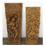 PAIR of ANTIQUE Asian Hand Carved Wall Sconces – auction estimate $200-$400