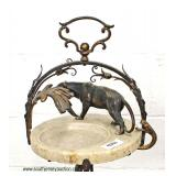 ANTIQUE Bronze and Iron Marble Ashtray with Lion and Snake – auction estimate $100-$300