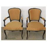 PAIR of French Style Mahogany Frame Arm Chairs – auction estimate $100-$300
