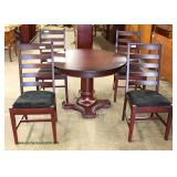 """Contemporary LIKE NEW 5 Piece Mahogany Finish Table and 4 Chairs American Heirloom Collection by """"Zi"""