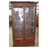 """16 Pane Cherry China Cabinet by """"Ethan Allen Furniture – American Dimensions"""" – auction estimate $20"""